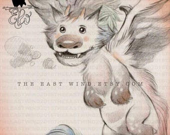 Organic Sketch Digital Stamp- 'Fluffy' the Fluff Dragon -300dpi JPG/PNG files -DEC17002