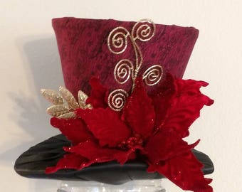 Top Hat   Christmas Tree Topper   FREE SHIPPING   Tree Topper Bow    Burgundy And