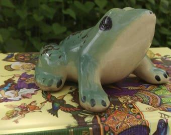 Ceramic Frog, Vintage Garden Figurine