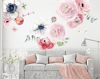 LARGE FLOWER SET - Flower Wall Decal, Floral Wall Decal, Watercolor Wall Decals, Flower Wall Stickers, Watercolor Flower Wall Decal, 04-0008