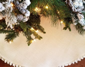 80 christmas tree skirtextra large tree skirtswhite burlapwhite pom - White Christmas Tree Skirts