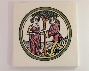 Mettlach Saar Ceramic Art Tile, German, Villeroy & Boch, Germany, Vintage Woodcut Style Art Tile, Mettlach