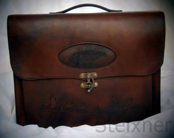 Gábor briefcase, Briefcase, Leather Briefcase, Bag, Leather Bag, Brief Bag, Leather Brief Bag, SteixnerLetherArt, Steixner, Handmade,Unique
