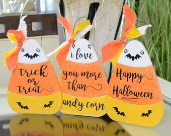 """I love you more than candy corn, Trick or Treat, Happy Halloween, Halloween decor,  7.5""""x5.75"""" Wooden Candy Corn, Choose your saying!"""