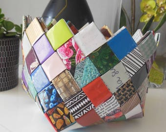 pretty paper basket magazine laminated
