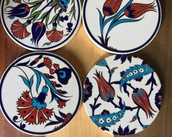 Set of 4 Artnicea Iznik Turkish Ceramic Tiles, Coasters, Trivets.  Beautiful Floral and Vine Patterns