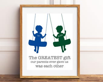 Brothers wall art, shared boys room wall art, siblings wall art, brothers quote, twins wall art, custom colors