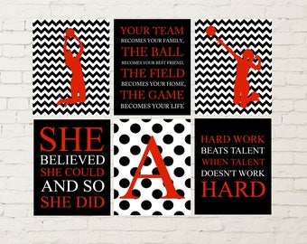 Volleyball Girl Player, Girls Quote Art, Volleyball Wall Art, Volleyball  Girls Room Decor