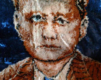 Vintage 1970s John F. Kennedy woven tapestry rug, or wall hanging
