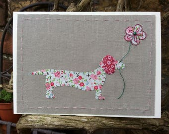 Dora Dachshund fabric blank card