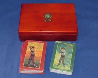 GOLF PLAYING CARDS in Wooden Box