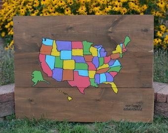 Wood Travel Map | Wood Burnt | STONEMILL MARKET