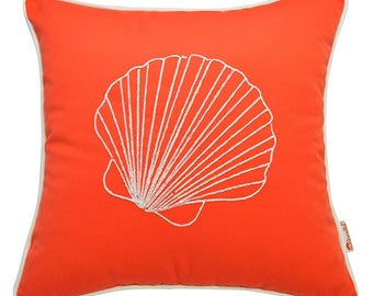 Coastal Luxury Embroidered/Monogram Decorative Shell Throw Pillow Cover - Enjoy Beach Life at It's Best in Your Home!