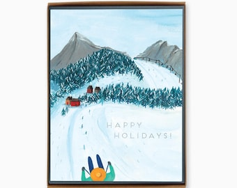 Box of 8 Holiday Cards - Skiing - happy holidays - winter - outdoor - nature