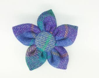 Large Purple and green Harris tweed corsage pin brooch