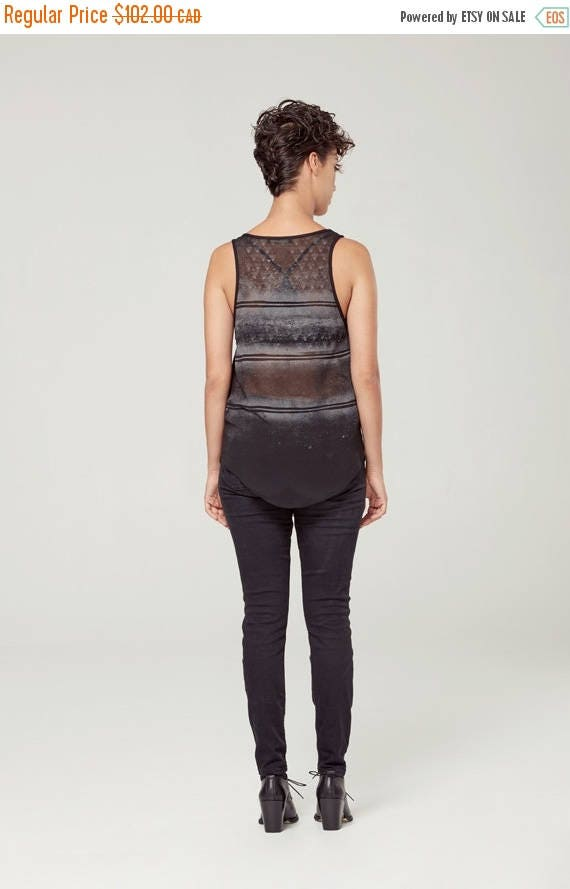 SOLDE SOLSTICE D'ÉTé - minimalist top with sheer back - see-through back, camisole, cami - black with deconstructed sikscreen edgy and grung