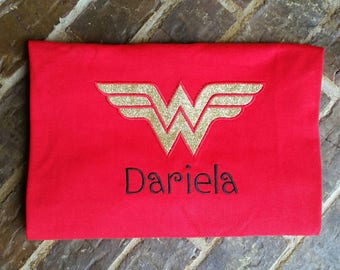 Ladies Wonder Woman appliquéd shirt with embroidered name