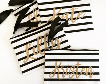 Personalized Makeup bag, cosmetic bag, personalized tote bag, bridesmaid gift, bride gift, custom tote, black and white stripe, pencil case