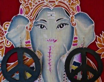 Big Peace Recycled bike tire earrings, Upcycled Bike inner tube BIG PEACE earrings,Eco friendly recycled BIG Peace earrings