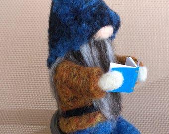 Needle felted Woodlands Scandinavian Book Gnome - Fiber arts - Garden Gnome - Tomte - Nisse - Teacher Gift - educational Gnome