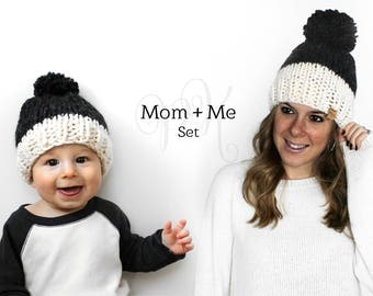 Mom and Me Set, Father Son Hats, Childrens Pom Hats, Knitted Hat Set Gift