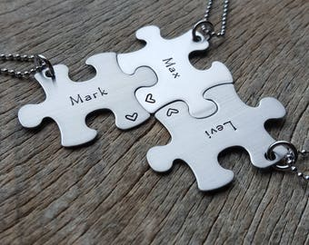 Customizable Name Puzzle Piece  Necklace  Personalized Hand Stamped  Necklace Bridesmaid Graduation/Best Friends