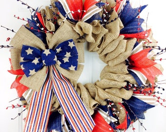 Pip Berry Fourth Of July Wreath Summer Wreath Americana Wreath Rustic Wreath 4th Of July Wreath Military Wreath Patriotic Wreath Pip Berry
