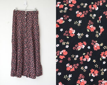 black and red floral high waist button down midi skirt 90s // S-M
