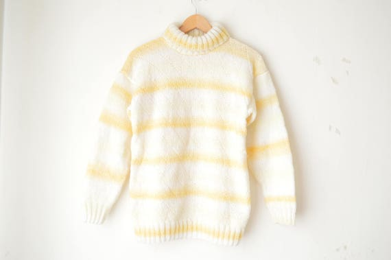 pastel yellow and white striped knit mock turtleneck sweater