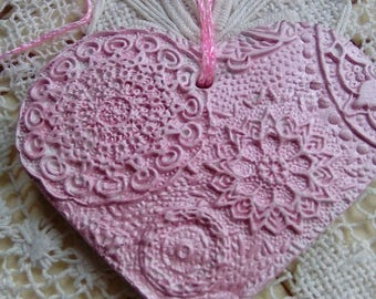Pink air dry clay heart, hanging decoration, clay heart ornament, handmade ornament, mandala heart, home decor, gift for her, valentines day