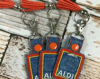 Aldi Quarter Keeper Keychain Fob snap-tab with tassel. Sparkle!