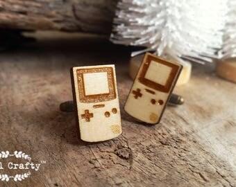 Nintendo Game Boy Wooden Cufflinks retro game tetris Dad Grooms Best man Groomsman Rustic Wedding Birthday Gift Cuff links