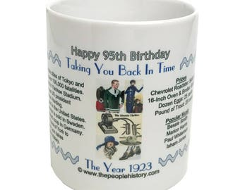 Happy 95th Birthday - 1923 Coffee Mug - Pre-Made with Message