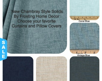 One Pair of Chambray Solid Curtains , Window Treatments , Buffalo Check, Nursery, Vintage Home Decor, Farmhouse Style