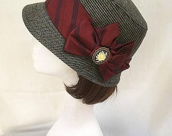 Tweed wool hat, vintage hat, english country , Gift for her , 1920s tweed, british hat, tweed cloche