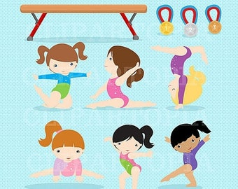 50% OFF SALE Gymnastics Clipart / Girls Gymnastics Cute Digital Clipart / For Personal and Commercial Use