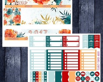 June Floral Monthly Stickers for HAPPY PLANNER