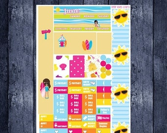 June Beach Monthly Stickers for Personal Planner Sew Much Crafting Month View