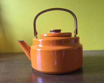 Vintage Enamel Teapot Orange