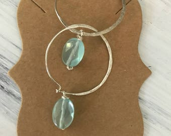 Silver Hoop Earrings Aquamarine