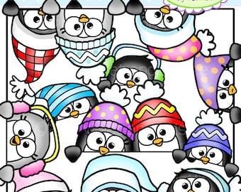 Cute Penguin Peekers Clipart Clip art Peeking Penguins Fun Faces Winter Page Toppers Clipart Clip Art