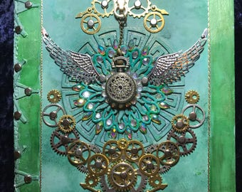 Jade green steampunk journal