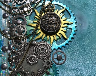 Turquoise Steampunk with clock