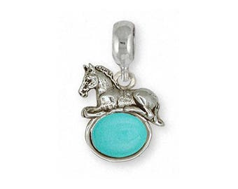 Horse Charm Slide Jewelry Sterling Silver Handmade Horse Charm Slide EQ10-TQPNS