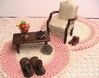 Dollhouse Furniture, Set of Miniature Living Room Dollhouse Furniture, 7Pc Furniture Set