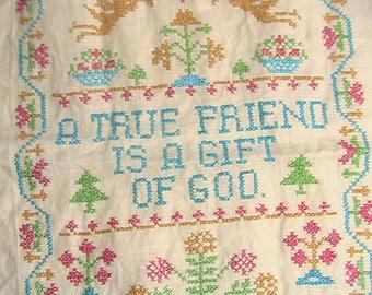 Sampler, Cross Stitch Sampler, Vintage Sampler, True Friend Gift of God Sampler