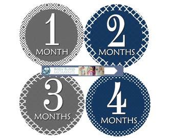 Baby Milestone Stickers, Baby Shower Gift, Month Baby Stickers, Newborn Stickers, Bodysuit Stickers, Navy Blue Gray Grey