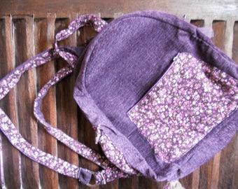 Backpack purple velvet flowers
