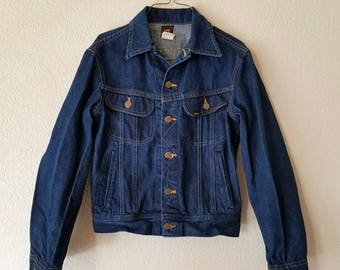 LEE Riders Denim Jacket American Made USA Size 36 Painted Horse Back Design 80s