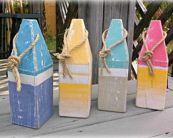 Decorative buoy - wooden buoy - stripe - lobster buoy - nautical decor -  beach house decor - outdoor nautical decor - custom order